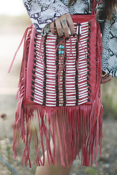 Red Leather-Bag With Fringes - Large & Square