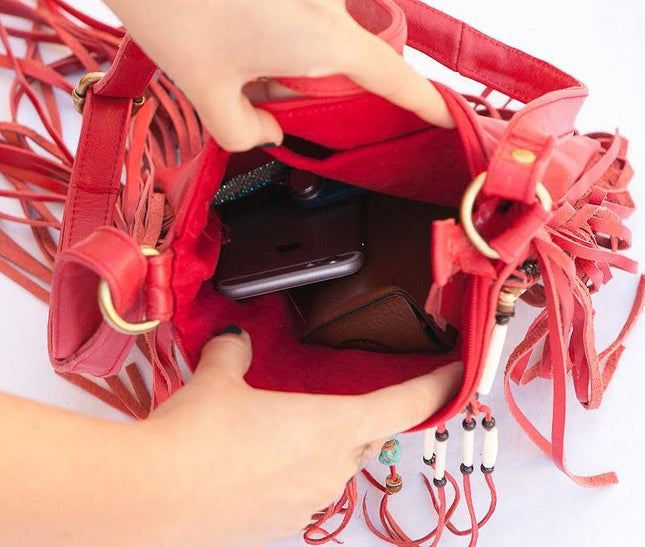 Red Leather Bag With Fringes - Small & Square