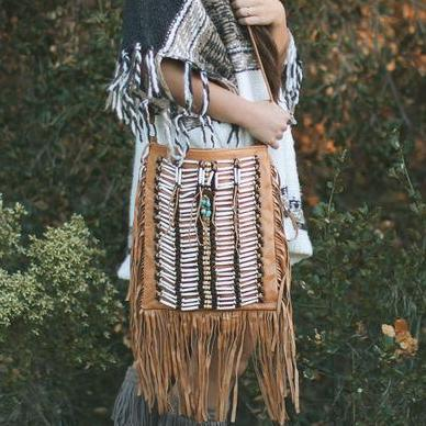 Tan-Colored Leather-Bag With Fringe Detail - Large & Square