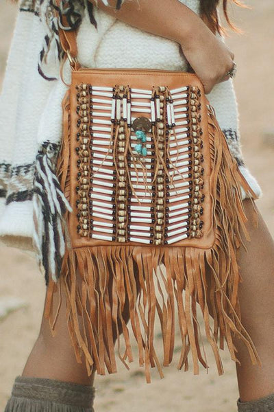 Tan-Colored Leather-Bag With Fringes - Small & Square