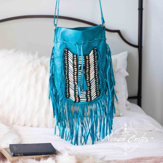 Turquoise Leather Bag With Fringe Detail - Large & Round