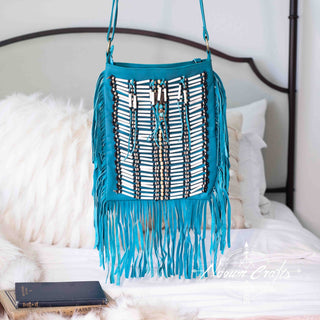 Turquoise Leather Bag With Fringe Detail - Large & Square