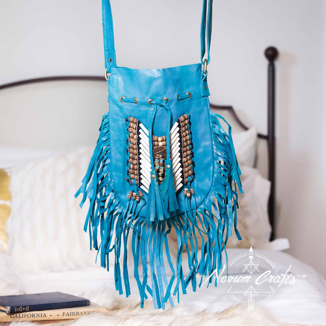 Turquoise Leather-Bag With Fringes - Small & Round