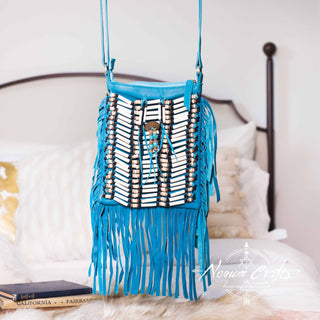 Turquoise Leather-Bag With Fringes - Small & Square