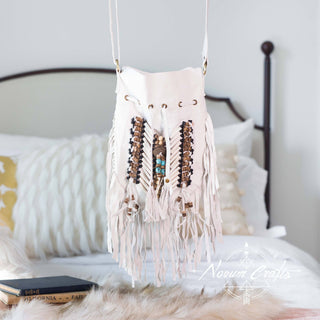 White Leather Bag With Fringe Detail - Small & Round