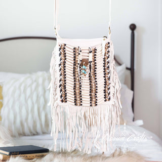 White Leather-Bag With Fringes - Small & Square
