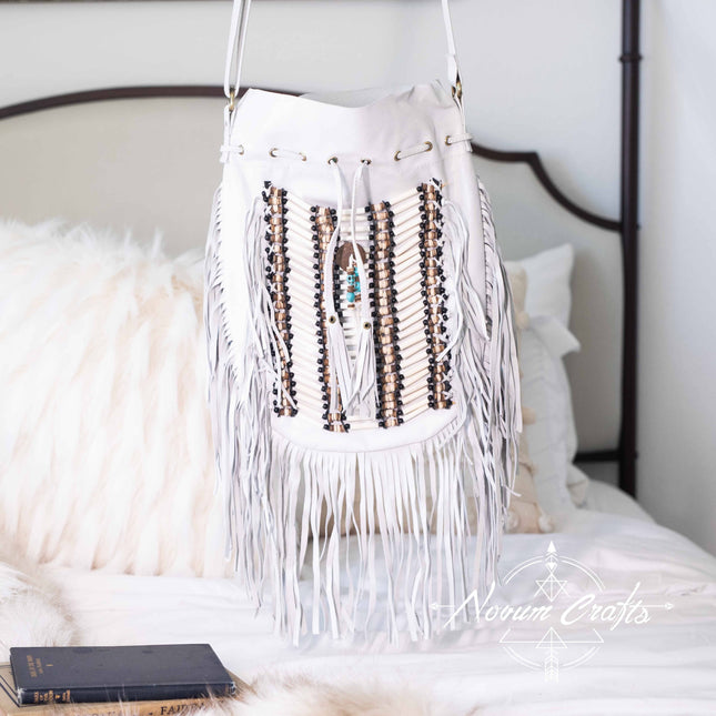 White Leather Bag With Fringe Detail - Large & Round
