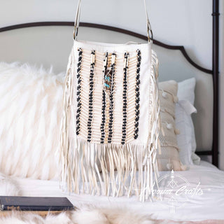 White Leather-Bag With Fringes - Large & Square