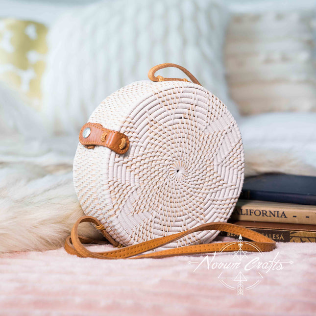 Round Rattan Bag (Medium) - White Delight