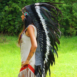Black Dotted White War Bonnet - 130cm