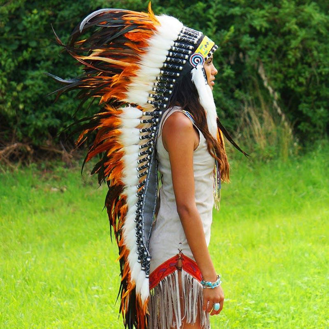 Orange war bonnet by Novum Crafts