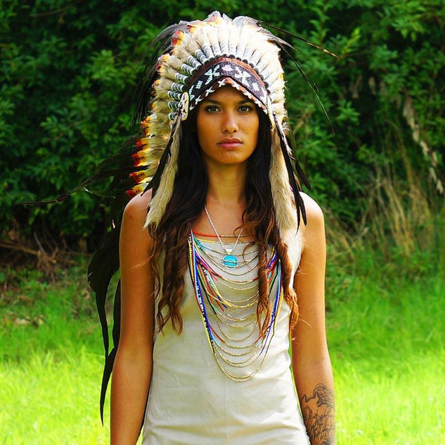 Mixed rasta style war bonnet - Indian Headdress