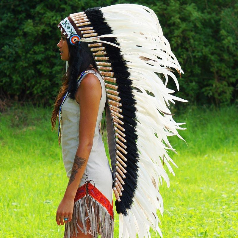 Pure white war bonnet with long trailer