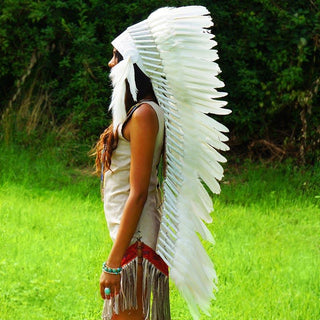 Blissful White War Bonnet - Indian Headdress