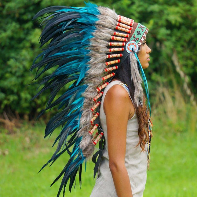 Aqua Indian headdress by Novum Crafts