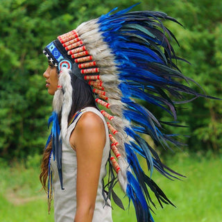 Blue Indian headdress with long trailer - Indian Headdress