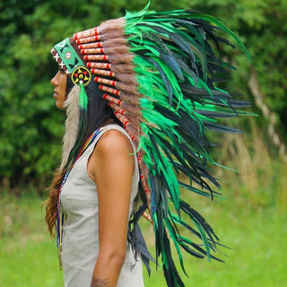 Green Indian Headdress - 95cm