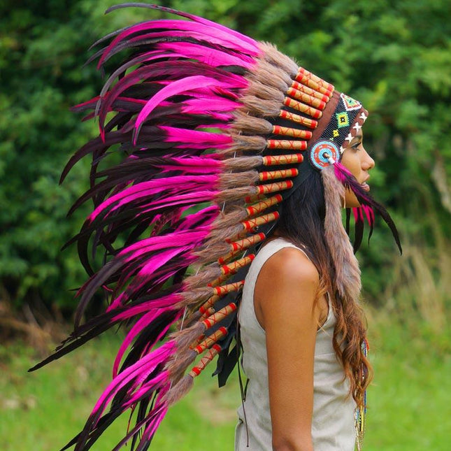 Hot Pink Indian Headdress - 95cm