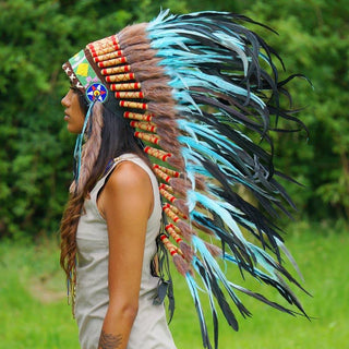 Turquoise colored Indian headdress with long trailer - Indian Headdress