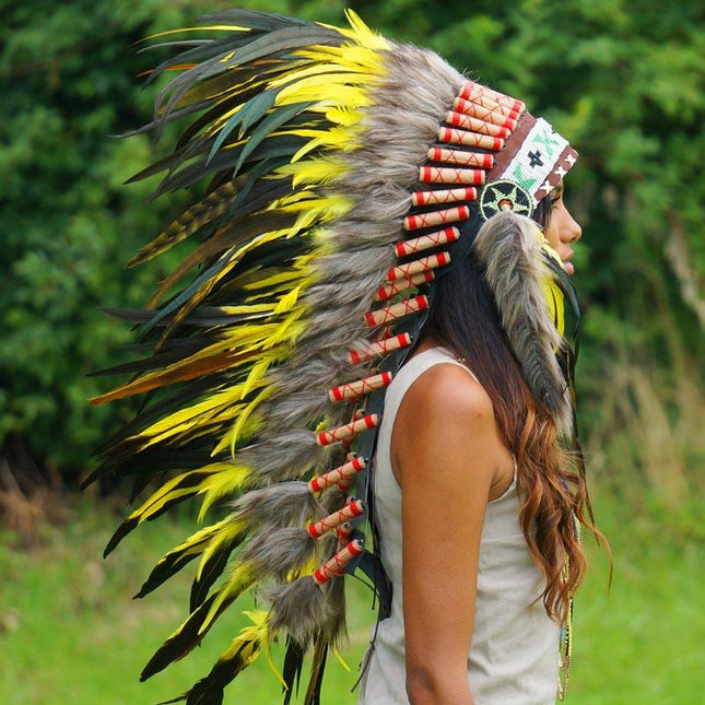 Yellow Indian Headdress - Indian Headdress