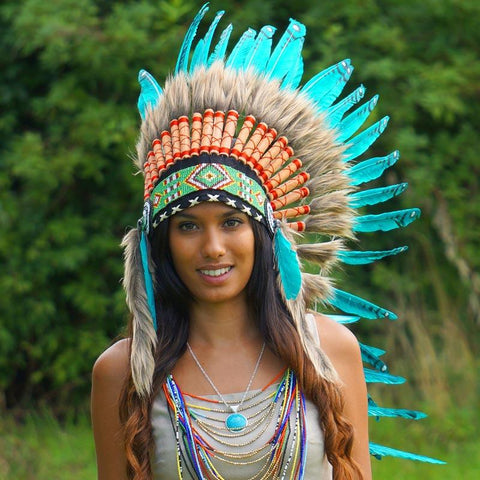 Aqua Colored Indian Headdress - IndianHeaddress