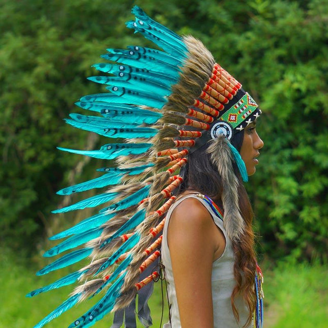 Auqa Colored Indian Headdress