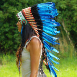 Dark Blue Indian Headdress - 90cm