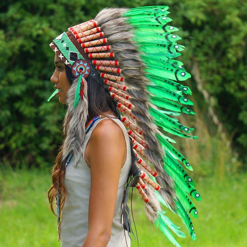 Green Indian Headdress - 90cm