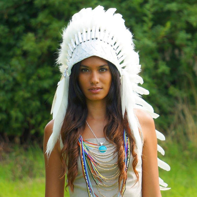 Pure White Indian Headdress - 90cm