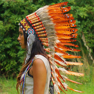 Dark Orange Indian Headdress - 90cm