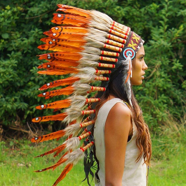 Dark Orange Indian Headdress by Novum Crafts