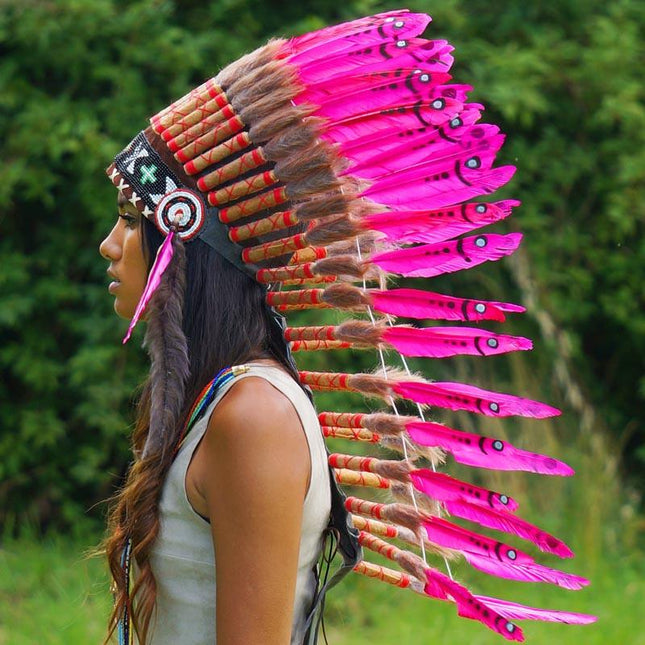 Pink Indian Headdress - 90cm