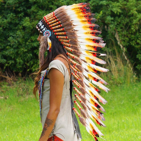 Orange-White Indian Headdress - 95cm