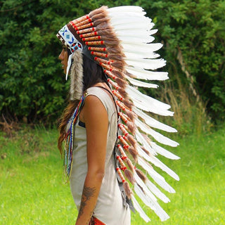 White Indian headdress with a long trailer - Indian Headdress