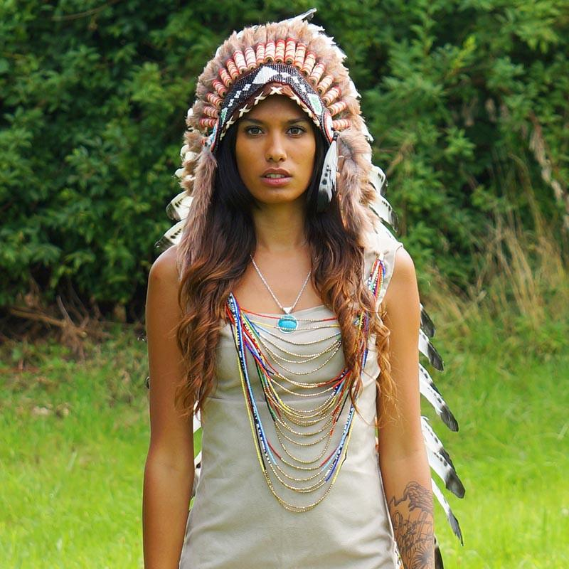Black Dotted White Indian Headdress - 90cm