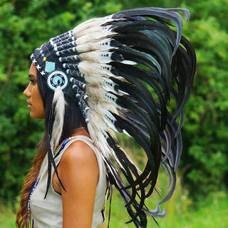 White-with-Black Native American Headdress - 75cm