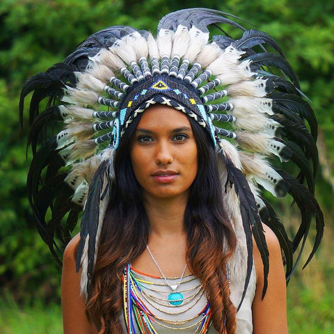 White-with-black Native American Headdress by Novum Crafts