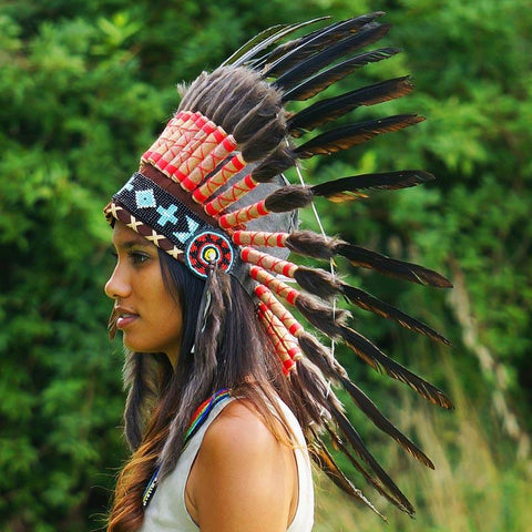 Black Native American Headdress - 75cm
