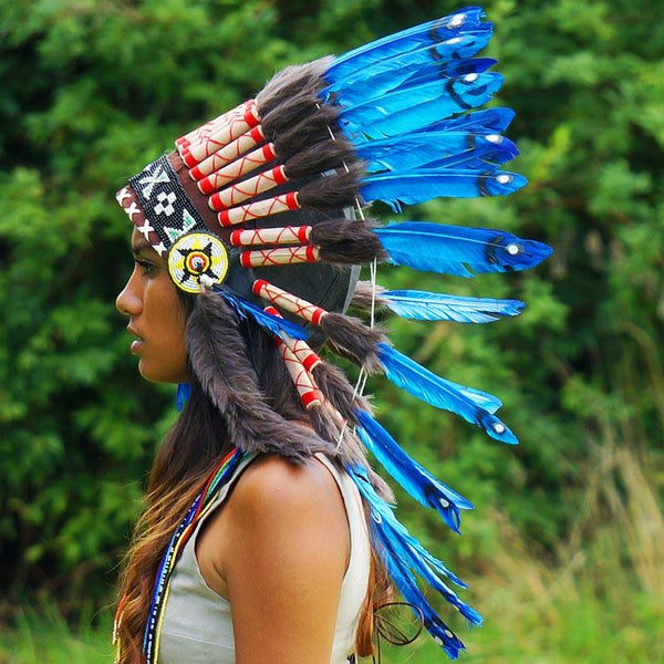 Royal blue chief headdress - Indian Headdress