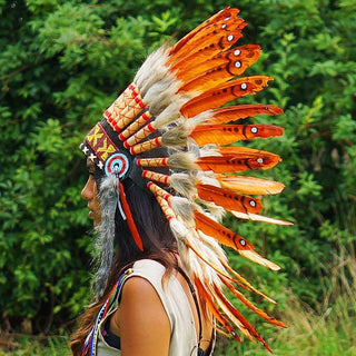 Dark orange chief headdress - Indian Headdress