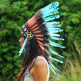Turquoise Chief Headdress - 65cm