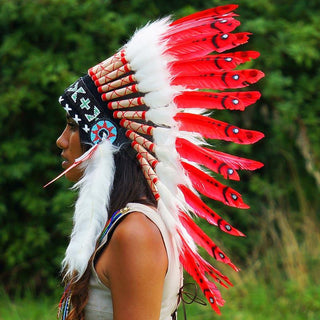 Red Indian Chief Headdress - 65cm