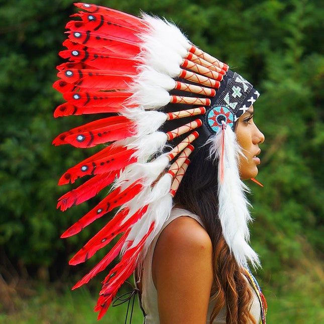 Hot Red Indian Chief Headdress