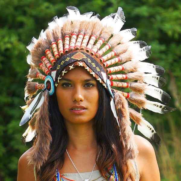 Black Dotted White Chief Headdress - 65cm