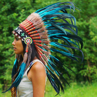 Aqua Colored Native American Headdress - 75cm