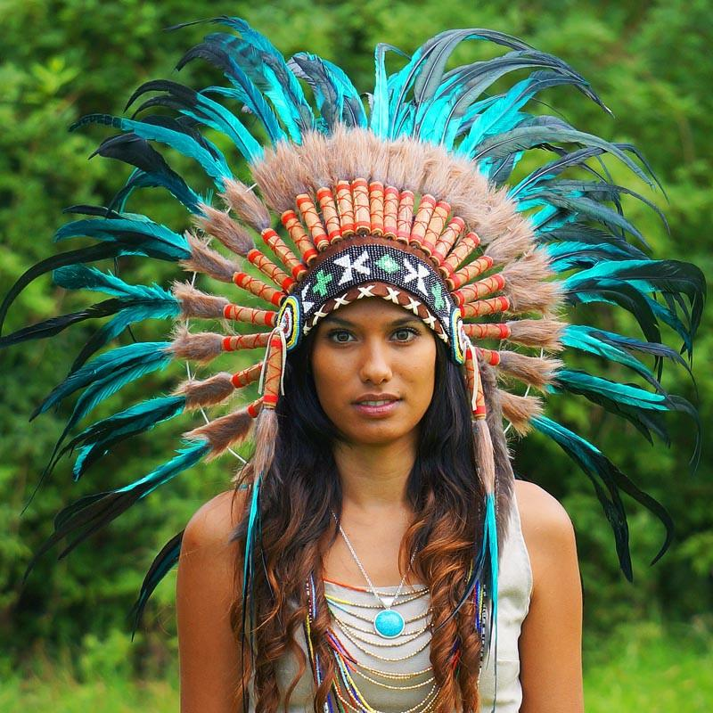 Aqua Colored Native American Headdress - 75Cm  Indian -6795