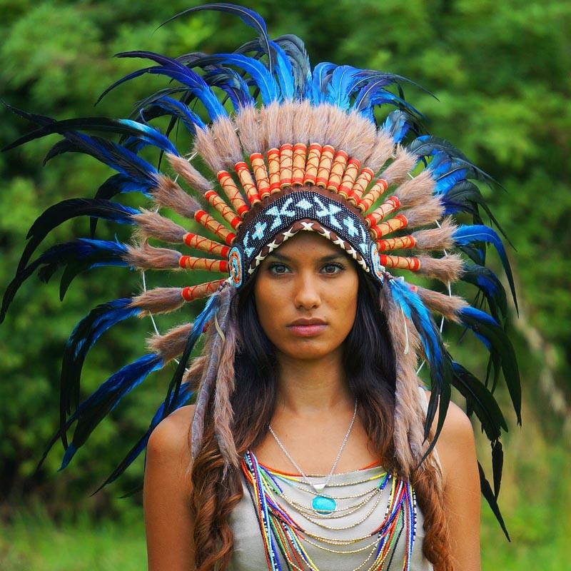 Royal Blue Native American Headdress - 75Cm  Indian -1170