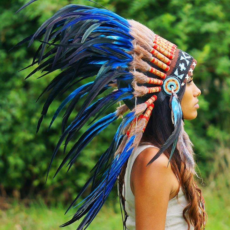 Royal Blue Native American Headdress - 75cm