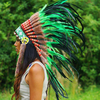 Green-with-Black Native American Headdress - 75cm
