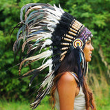 Black and White Mixed-Feathers Native American Headdress - 75cm